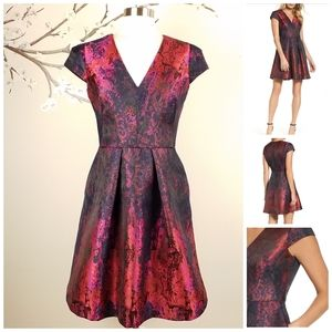Vince Camuto |Jacquard V-Neck Fit & Flare Dress